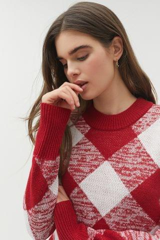 WOMEN The Fifth Label Angle Knit Argyle Sweater