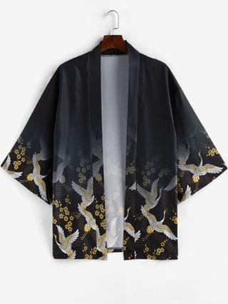MEN Floral Flying Crane Open Front Kimono Cardigan - Black 2xl