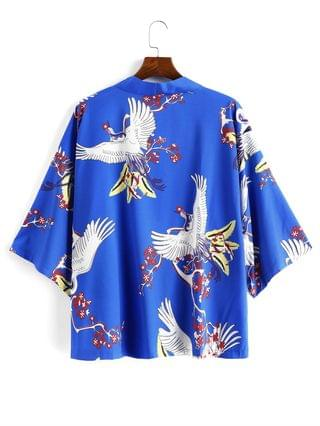 MEN Flying Crane Floral Oriental Kimono Cardigan - Blue 3xl