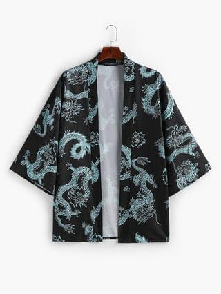 MEN Dragon And Flowers Print Open Front Kimono Cardigan - Light Blue 2xl