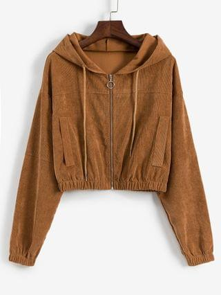 WOMEN Faux Pockets Corduroy Crop Hooded Jacket - Light Brown M