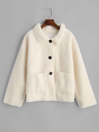 WOMEN Patched Pockets Solid Button Up Teddy Jacket - White Xl