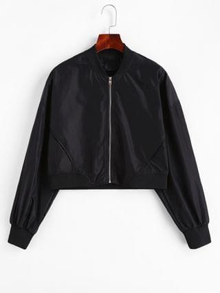 WOMEN Solid Zip Up Pockets Bomber Jacket - Black L