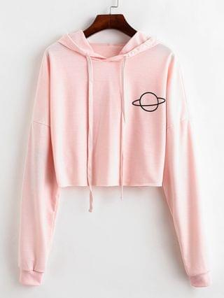 WOMEN Raw Cut Planet Graphic Drop Shoulder Hoodie - Pink Xl