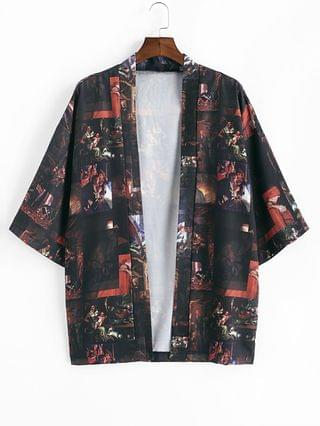 MEN Open Front Renaissance Art Printed Kimono Cardigan - Black 2xl