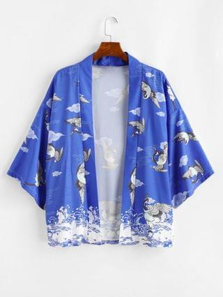 MEN Ocean Waves Flying Crane Print Oriental Kimono Cardigan - Cobalt Blue 2xl