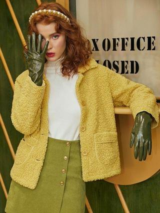 WOMEN Solid Patched Pockets Button Up Teddy Jacket - Yellow Xl
