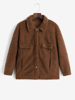 WOMEN Snap Button Faux Pockets Solid Teddy Jacket - Brown