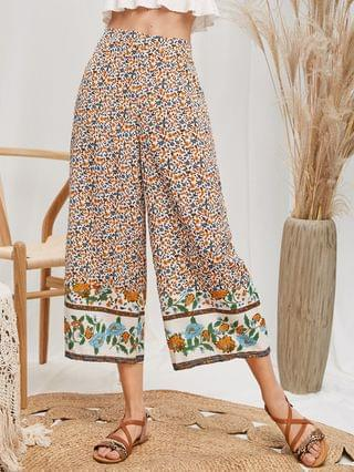WOMEN High Waisted Ditsy Floral Wide Leg Pants - Multi-a L