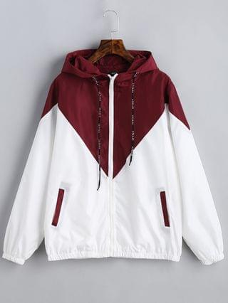 WOMEN Two Tone Hooded Windbreaker - Red With White L