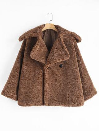 WOMEN Two Button Lapel Fluffy Teddy Coat - Dark Goldenrod S