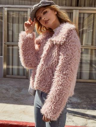 WOMEN Open Front Solid Faux Fur Coat - Pink Rose L