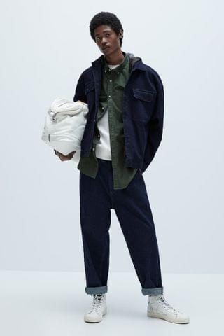 MEN CONTRASTING TECHNICAL DENIM JACKET