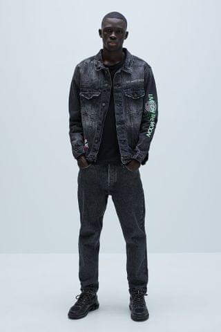 MEN PRINTED DENIM JACKET