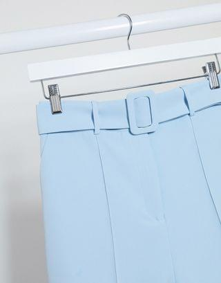 WOMEN high waisted belted cigarette pants in pastel blue