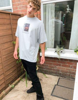 COLLUSION oversized t-shirt with print in light blue