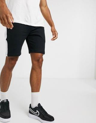 jersey skinny shorts with side stripe in black