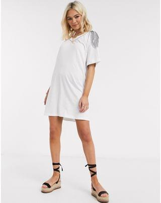 WOMEN t-shirt dress with embellished trim in white