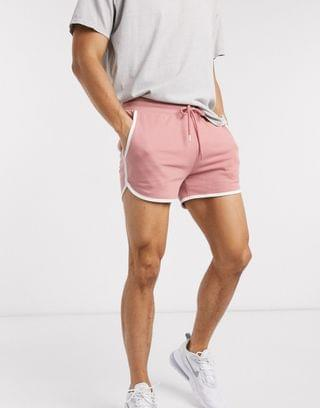 jersey runner shorts in pink with white binding