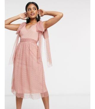 WOMEN Little Mistress skater midi dress with bow shoulder in cosmetic pink