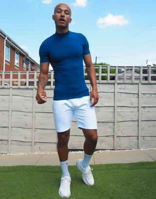 muscle fit turtleneck t-shirt in navy