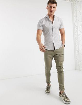 New Look short sleeve muscle fit oxford shirt in gray