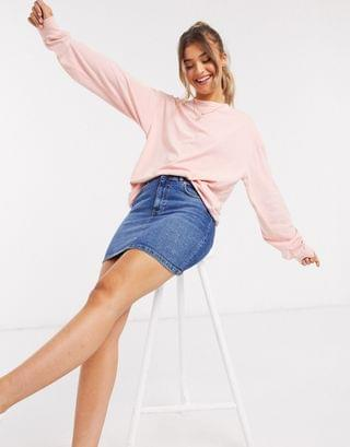WOMEN oversized long sleeve t-shirt with cuff detail in washed coral