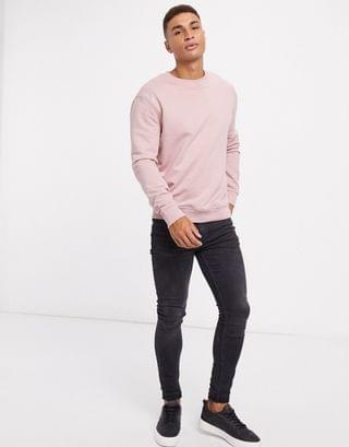 New Look relaxed long sleeve sweatshirt in light pink