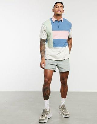relaxed polo shirt with pastel color block