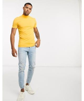 muscle fit turtleneck t-shirt in yellow