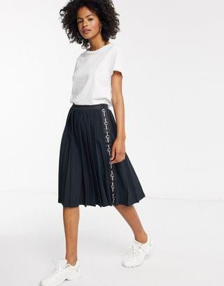 WOMEN Fred Perry pleated skirt with taping in black