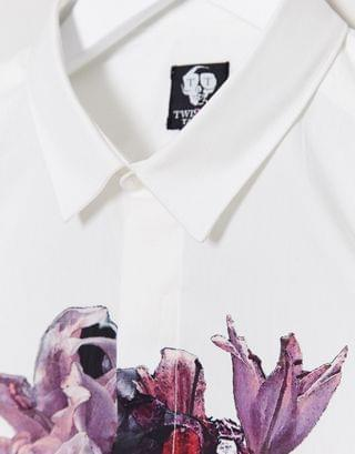 Twisted Tailor skinny shirt with floral skull chest print in white