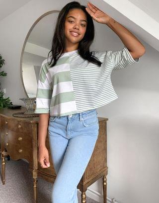 WOMEN oversized crop t-shirt in cutabout sage stripe