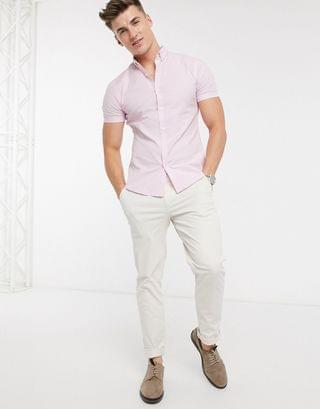 New Look short sleeve muscle fit oxford shirt in pink