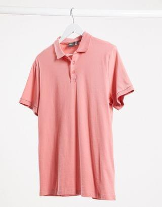 organic jersey polo in pink