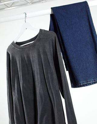 WOMEN Tall oversized long sleeve t-shirt with cuff detail in washed black