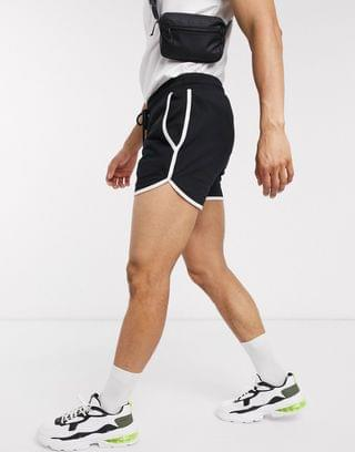 jersey runner shorts in black with white binding