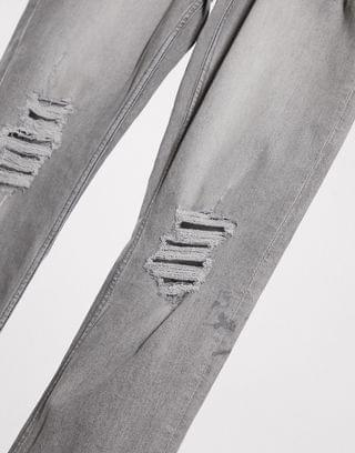 Topman Big & Tall skinny jeans with distressed rips in gray