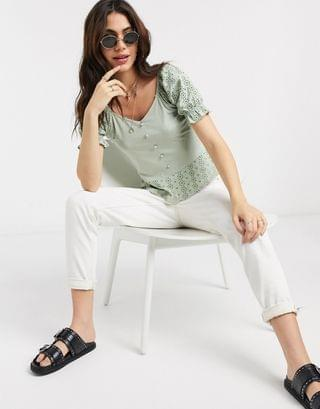 WOMEN Only top with puff sleeves and broderie detail in green