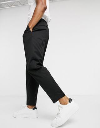 Topman double pleated tapered pants in black