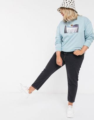 WOMEN Curve sweat with out of office print in sage green