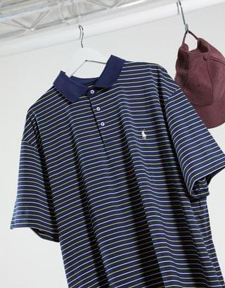 Polo Ralph Lauren Big & Tall stripe airflow jersey perfomance polo in french navy multi