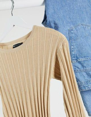 WOMEN Tall crew neck ribbed sweater
