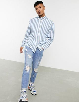 Pull&Bear Oxford shirt with vertical stripes in light blue
