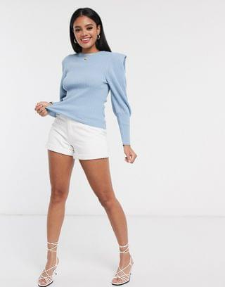 WOMEN ribbed sweater with structured shoulder in pale blue