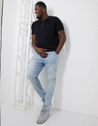New Look Plus ladder stitch polo in black