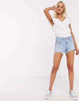 WOMEN JDY broderie top with frill sleeves in white
