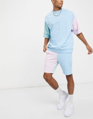 two-piece jersey skinny shorts with pastel color block