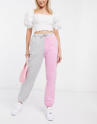 WOMEN Daisy Street relaxed sweatpants in color block two-piece
