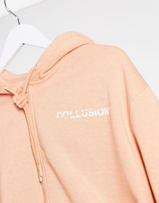WOMEN COLLUSION plus exclusive cropped zip through hoodie in apricot